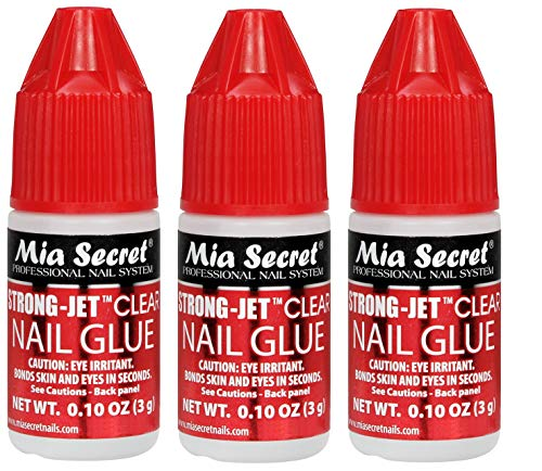 3pcs Mia Secret Strong-Jet Clear Drop On Nail Glue - Fast Drying and Long Lasting