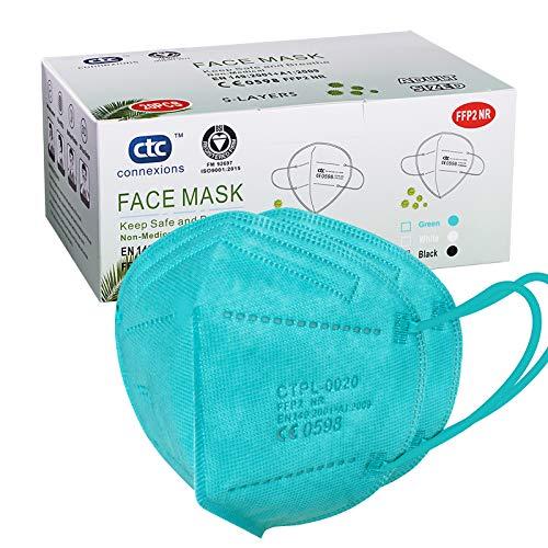 ctc connexions FFP2 / KN95 5-Lagen-Gesichtsschutzmaske, CE-zertifiziert, Blau Gr¨¹n (20 St¡§1ck / Karton, jeweils in Einzelverpackung)