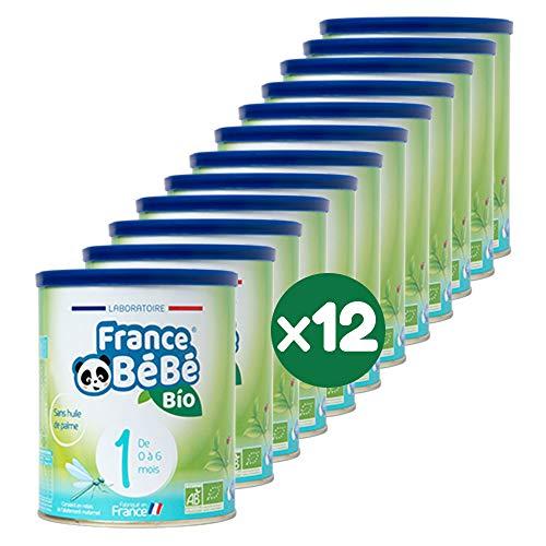FRANCE BéBé BIO - Lait infantile pour nourrisson bébé 1er âge en poudre - Lait fabriqué en France - 13 Vitamines 12 Minéraux - Pack 12 boîtes de 400g