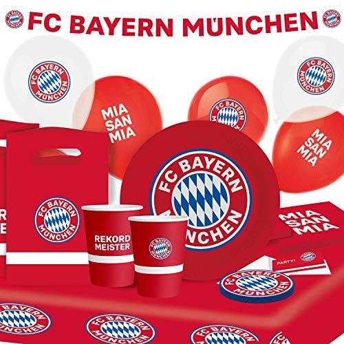 Amscan 9907650 - Partyset FC Bayern München, 8 Teller, 8 Becher, 20 Servietten, 12 Untersetzer, Papiertischdecke, 8 Beutel, Girlande, 6 Ballons