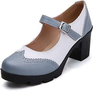 DADAWEN Women's Round Toe Platform Mid Heel Mary Jane Oxford Dress Pumps