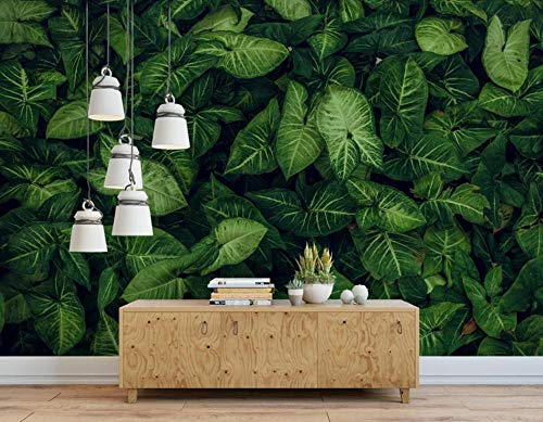 Custom Classic 3D Wallpaper Minimalist Green Hand Painted Tropical rain Forest Leaves Papel de Parede Background Speedcoming x1148-200x140cm/79'x 55'