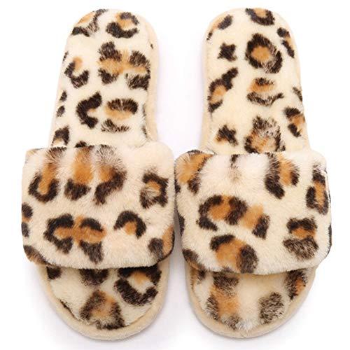 KRILY Cálido Mullido Pantuflas Flip Flop Zapatillas Interior Plana Mujer para Casa Zapato Antideslizante Pantuflas en Felpa Mujer Slippers Interiores y Exteriores,Beige,34