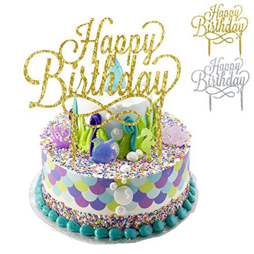 NATUCE 2 Stück Happy Birthday tortendeko,Tortenstecker , Tortentopper, Cake Tooper, Zum Geburtstag Kuchen Topper Party Dekoration für Kinder,Glitzer-Farbkarte für alle Altersgruppen,-Gold und Silber