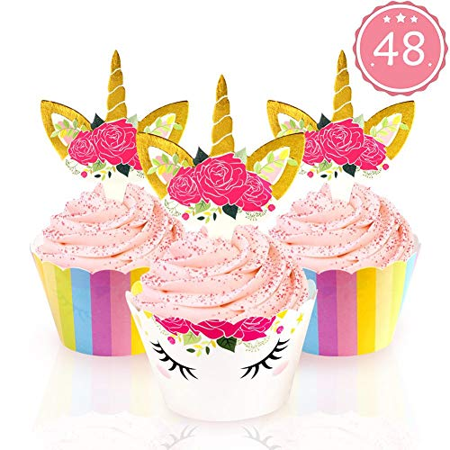 AerWo 48pcs Unicorn Cupcake Toppers and Wrappers. Upgrade Double Sided Rainbow and Unicorn Toppers for Kids Party Unicorn Cupcake Decorations