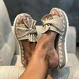 MEIZHEN Zapatilla de Plataforma con cuña para Mujer, Sandalias de Verano con Nudo en la Parte Delantera de la Playa, Sandalias Bohemia Moda Casual Ocio de Ancho Ancho 39 Khaki