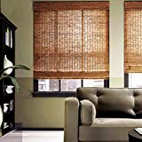 KDDFN Bamboo Roller Blinds Outdoor,Natural Bamboo Curtain Reed Curtain,Carbonization Roll-up Reed Shade,Retro Decoration,Breathable,Handwoven,Customizable,for Indoor,Outdoor (6090cm/2436in)