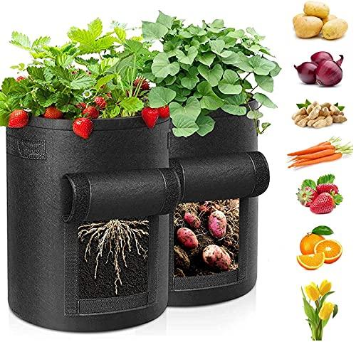 LLKK Paquete de 2 Bolsas de Cultivo de Patatas,Bolsa de Cultivo de Plantas de jardinería,Caja de jardín,contenedor de hortalizas,Tomates,Zanahorias