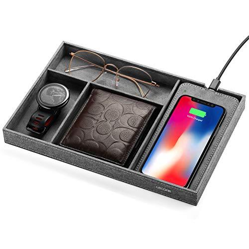Lecone Fast Wireless Charger mit Organizer Aufbewahrungbox Qi Textil-Stoff Ladestation für Nachtisch Schreibtisch für iPhone11/11 Pro Max/XS Max/XR/XS, 10W für Samsung Galaxy S10/S9 /S8/Note 10, Grau
