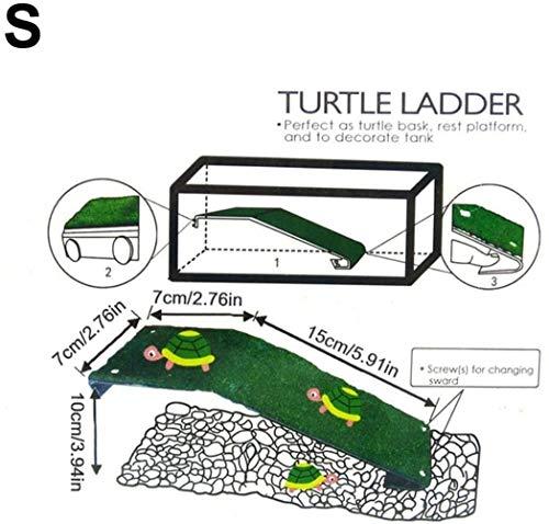 Schildkrötenhaus - Aquarien Für Schildkröten Schildkröten Terrarium Wassersch-Turtle Drying Platform Schildkröte Kletterleiter Reptil Schildkröte-Aquarium Simulierte Rasen Landschaftsbau (klein 20)