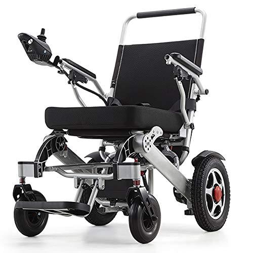Leichtgewichtrollstuhl, Doppelfunktion Faltbare Elektro-Rollstuhl (Li-Ion-Akku) mit elektrischer Energie oder manuellem Rollstuhl für Behinderte Ältere,Weihnachten / Schwarz / 12AH Lithium Batte