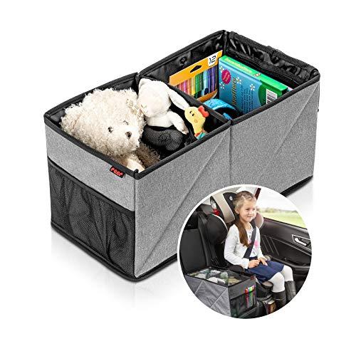 Reer TravelKid Box Boîte de rangement pliable, anti-tache et antidérapante Boîte parfaite pour le rangement sur la banquette arrière de la voiture Gris
