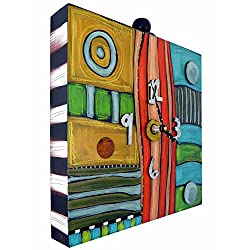 Modern Artisans Eclectic Hand-Painted Box Clock for Wall or Shelf, 12 Square, Handmade in The USA