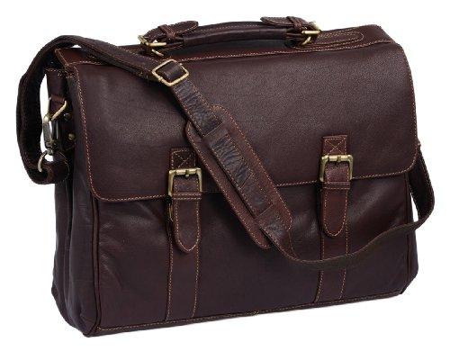 LEAS Oxford - Aktentasche Echt-Leder, dunkelbraun Classic Bags