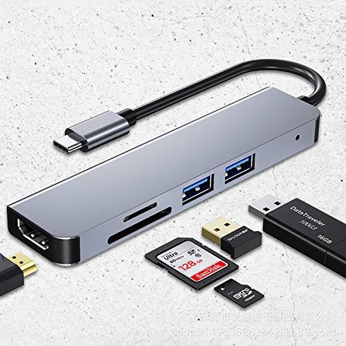C-Y 5 en 1 Hub portátil Adaptador de multipuerta del concentrador USB Salida HDMI 4K 2 Puertos USB 3.0 Lector de Tarjetas SD TF Compatible para MacBook, MateBook, Notebook, Galaxybook, etc.