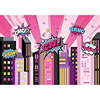 Allenjoy 7x5フィート ピンクガール スーパーヒーロー 背景 都市景観 スカイライン ビルディング 写真背景 誕生日 ベビーシャワー パーティー サイン デコレーション パーティー イベント バナー フォトブース小道具