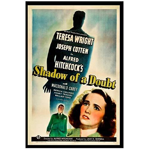 chtshjdtb Shadow of Doubt (1943) Filmklassiker Alfred Hitchcock Retro Poster Leinwand Malerei Bilder Wohnkultur Geschenke Druck Auf Leinwand-50X70Cm No Frame