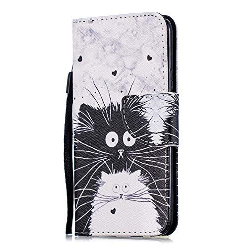ShinyHülle Handyhülle für Motorola Moto X4 (2017) Hülle Brieftasche PU Schutz Etui Leder Flip Schwarze & weiße Katze Muster Cover mit Kartenfach Magnet Bookstyle Wallet Hülle Tasche Handytasche