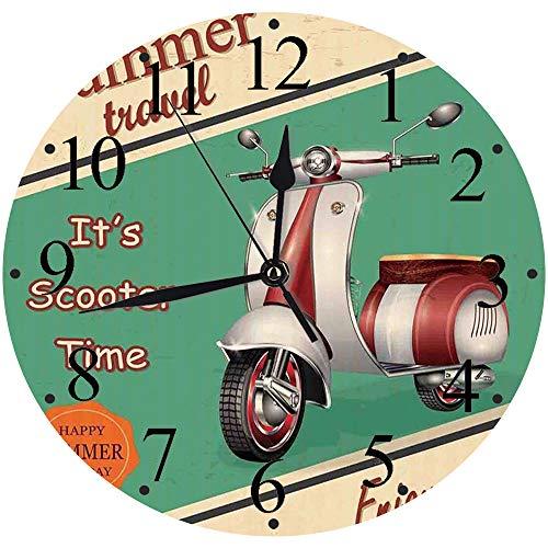 Yaoni Silencioso Wall Clock Decoración de hogar de Reloj de Redondo,Decoración Vintage, Scooter, Moto, Viaje de Verano, Ciudad Italiana, Vista, Hipster, disfru,para Hogar, Sala de Estar, el Aula