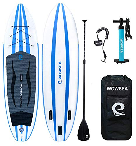 WOWSEA iSUP Inflatable 11' Stand Up Paddle Board Package Includes Adjustable Paddle Travel Backpack Coil Leash for Youth and Adult (11 Feet Blue and White) (Renewed)