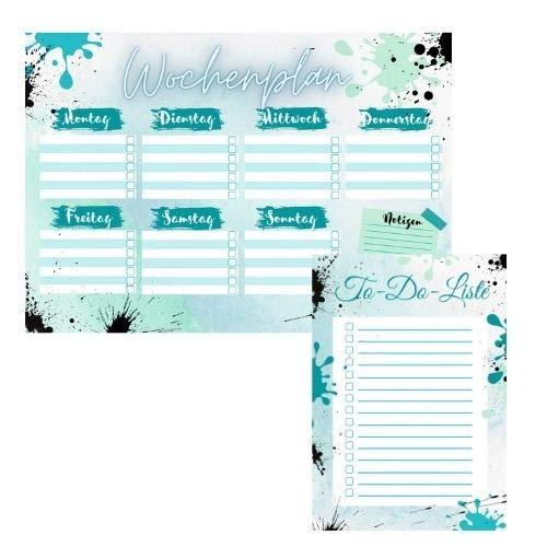 Wochenplaner und To-Do-Liste Set, Wochenplan A4 Schreibblock 50 Blatt, To-Do-Liste A5, Organisation, Planungsblock, Block, Türkis