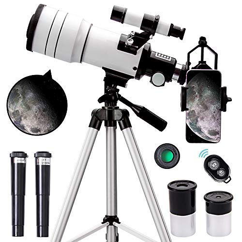 ToyerBee Telescope for Kids &Adults &Beginners,70mm Aperture 300mm Astronomical Refractor Telescope(15X-150X),Portable Travel Telescope with an...