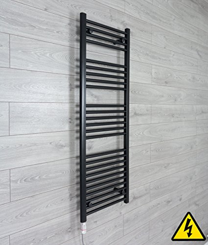 companyblue thermostaat handdoekradiator, elektrisch verwarmd, 500 mm breed, zwart 1400 x 500 mm mat zwart