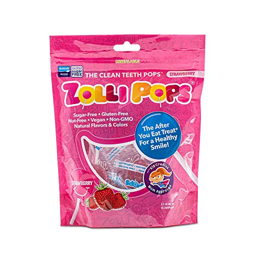 Zollipops Clean Teeth Lollipops   Anti-Cavity, Sugar Free Candy with Xylitol for a Healthy Smile - Great for Kids, Diabetics and Keto Diet(Strawberry, 3.1oz)
