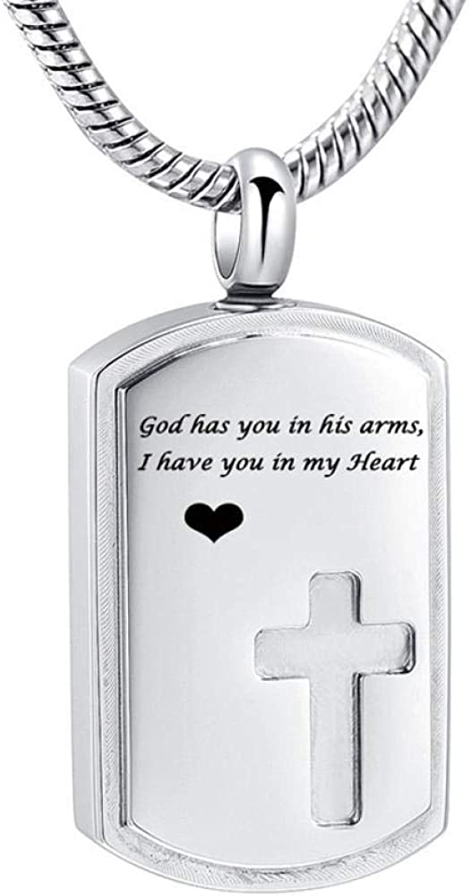 Ashes Chain Cross Cremation Jewelry for Ashes Engraved God has You in his arms I Have You in My Heart Memorial Urn Necklace for Human/Pet