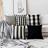 Home Brilliant Halloween Decorations Pillows Covers Set Black and White Throw Pillow Covers Textured...