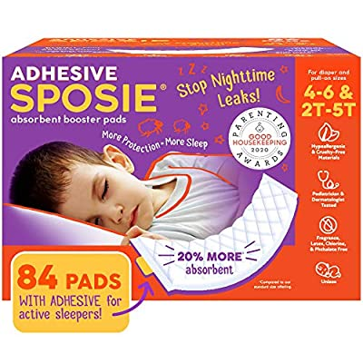 Sposie, Stops Nighttime Diaper leaks, Extra Overnight Protection for Heavy Wetters and Potty Training, Fits Diaper Sizes 4-6 and Pull-ons 2T-5T, 84 ct with Adhesive… from Sposie