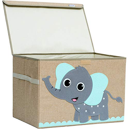 Hurricane Munchkin Large Toy Chest. Canvas Soft Fabric Children Toy Storage Bin Basket with Flip-top Lid. Collapsible Gray Toy Box for Kids, Boys, Girls, Toddler and Baby Nursery Room (Elephant)