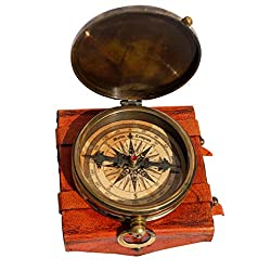 MAH ''Robert Frost Poem'' Engraved Antiquated Finish Brass Compass with Case. C-3240