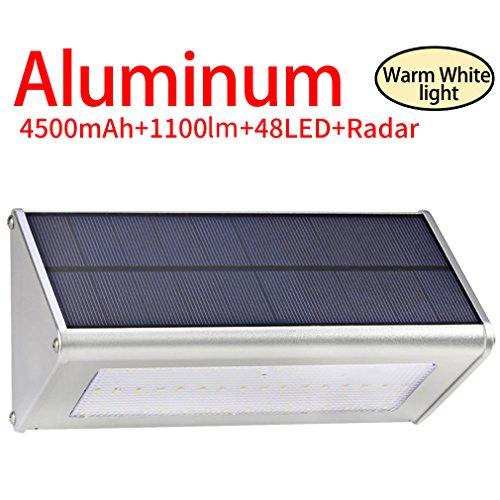 Licwshi 1100 Lm Solarleuchten 48 LED 4500mAh mit Aluminiumlegierungsgehäuse, Wasserdichtkeit im Freien, Radar-Bewegungsinduktion, es ist geeignet für Laubengang, Garten, Garage -warm weißes
