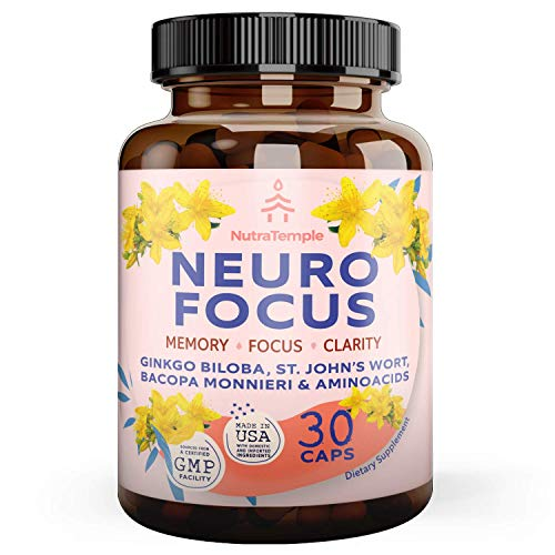 Brain Booster Supplement Nootropics - Neuro Focus for Brain Health, Memory, Clarity, Focus, Stress Relief, Anxiety with Gingko Biloba, Bacopa Monnieri, St. Johns Wort - 30 Brain Food Capsules