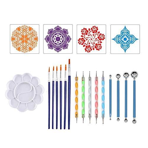 KKmoon Conjunto de 20 peças Mandala Ferramentas de pontilhado DIY Pintura Stencils Bola Stylus Paleta Pincéis de pintura para pedras de tela para colorir desenho artesanato materiais de arte