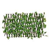 Las cercas del jardín Ampliable artificial de imitación de hoja de hiedra paneles de cobertura en el rodillo de jardín Valla de pantalla decorativa del jardín de piquete Decoración del césped