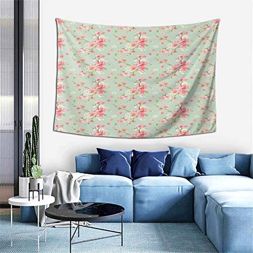 Flores de primavera retro con flores de jardín francés, guirnalda artesanal para dormitorio, sala de estar, dormitorio, 156 x 100 cm