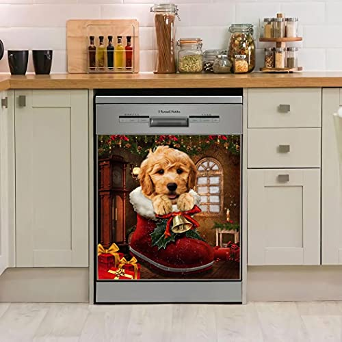 Personalized Goldendoodle Christmas Boots Dishwasher Cover Kitchen Decor Dishwasher For Home Decorative Best Idea For Mothers Fathers Day