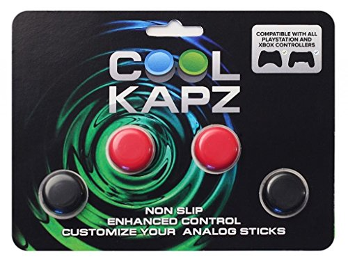 CoolKapz Non-Slip Gaming Controller Joystick and D-Pad Cover, Red and Black
