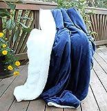Tache Dark Navy Blue Warm Super Soft Sherpa Winter Night Micro Fleece Throw Blanket 50' x 60'