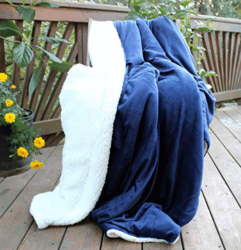 Tache Dark Navy Blue Warm Super Soft Sherpa Winter Night Micro Fleece Throw Blanket 50' x 60'