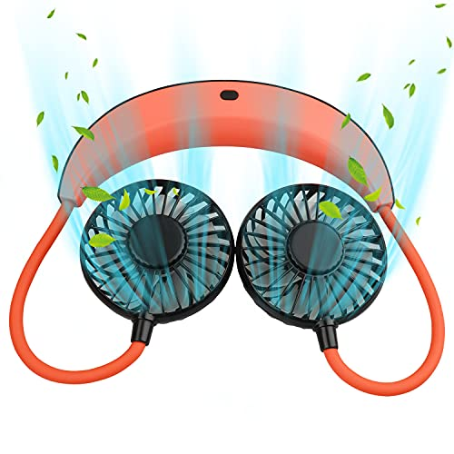 iHOVEN 首かけ扇風機 携帯扇風機 せんぷうき扇風機 ハンズフリーファン ハンディファン ポータブル扇風機 ハンズフリー強風 静音 USB充電式 携帯バッテリー 大容量5200mAh 10時間連続使用ネッククーラー 折りたたみ式 通勤 通学 お出かけ 山登り 遠足 アウトドア トレーニング オフィス 台所 熱中症対策