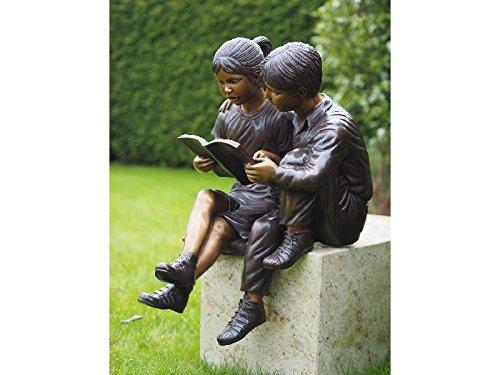H. Packmor GmbH Figura de bronce de dos niños leyendo con libro, decoración de jardín, figura decorativa para jardín, 52 x 80 x 53 cm