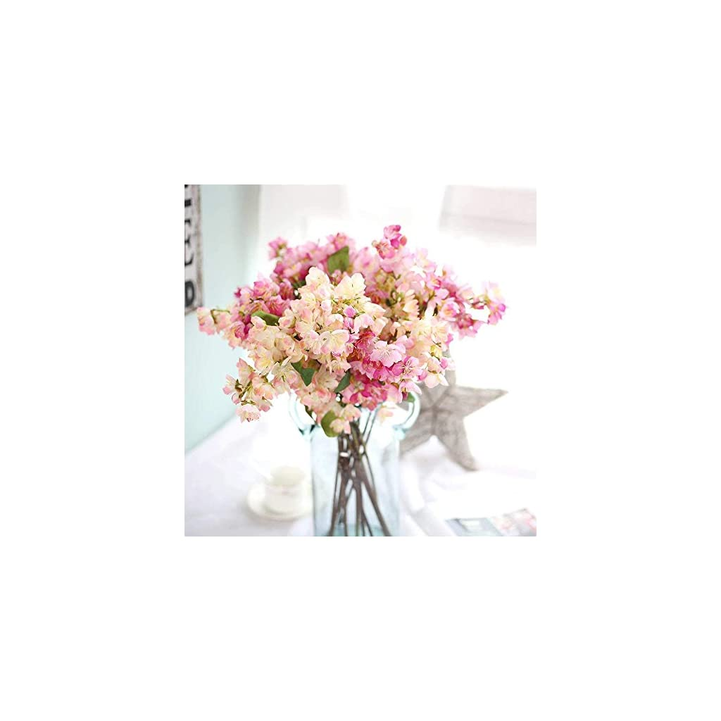 Maylife Artificial Flowers, Fake Flowers Silk Plastic Artificial Cherry Blossom Bridal Wedding Bouquet Home Garden Party Wedding Decoration 3PC (White & Light Pink)