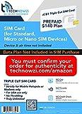 AT&T Compatible Triple Cut SIM Card for Unlimited Data Service (TechNowzi)