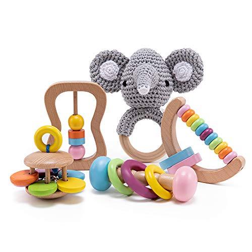 bopoobo 5 PCS Elephant Organic Wooden Gift Wood Rattle Montessori Gifts Grasping Wooden Set Wood Rattle Craft