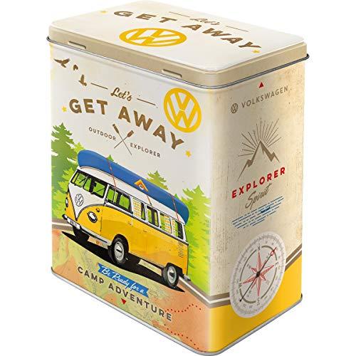 Nostalgic-Art Retro L Vorratsdose, Große Kaffee-Dose aus Blech, Volkswagen Bulli-Let's Get Away, 3 l