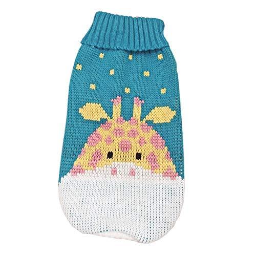 LIUCHANG Lindo suéter de perro pequeño de dibujos animados ropa de invierno caliente para mascotas ropa para perros cachorro traje (color: jirafa azul, tamaño: 8) liuchang20