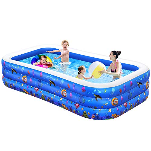 """Inflatable Swimming Pool, Kiddie Pool, Family Lounge Pool for Kids, Adult, Infant, Toddlers, 120"""" X 72"""" X 22"""" Thickened Blow Up Pool, Easy Set Swimming Pool for Outdoor, Backyard, Garden"""